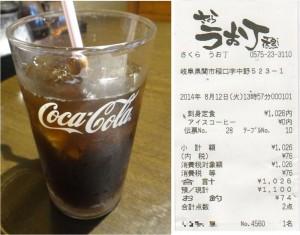 ★アイスコーヒーはコーラのグラス20140812さくらうお丁 (刺身定食) (1)
