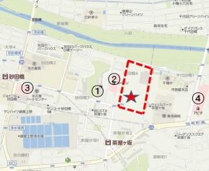 ◇地図 競合店 コノミヤ砂田橋店